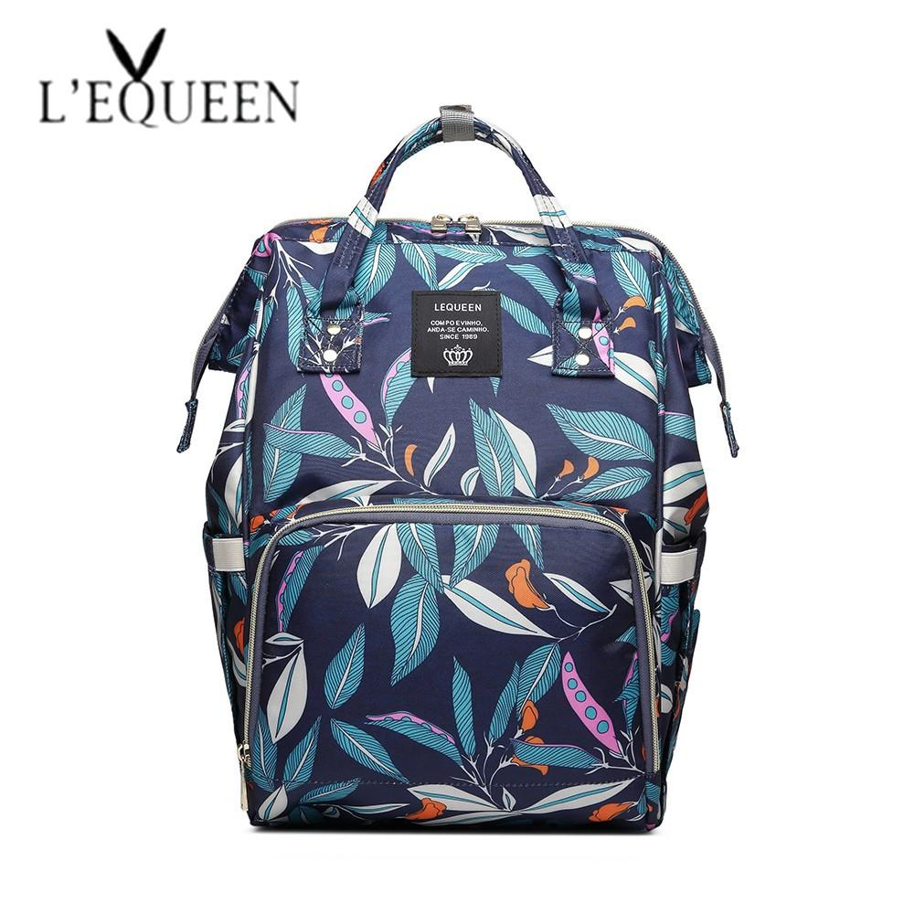 d5d27530729 2019 Lequeen New Fashion Printed Diaper Bags Baby Bag Leaf Pattern Mummy  Maternity Bags Travel Backpack For Mon From Begonior, $45.19 | DHgate.Com