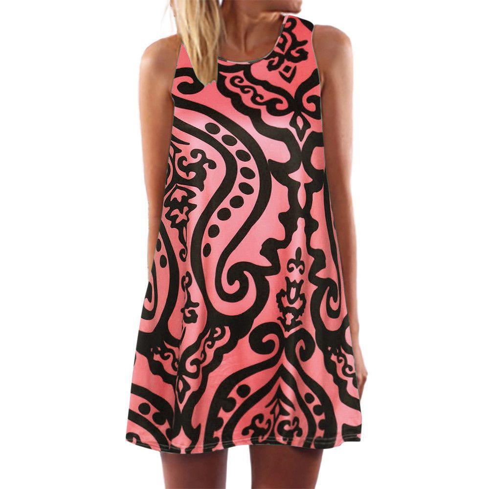 b66ac99f9db6 Women Boho Loose Print Sleeveless O Neck Dress Beach Short Mini Dress Robe  Ete 2019 Cheap Dresses Online Yellow Dresses From Cozywine