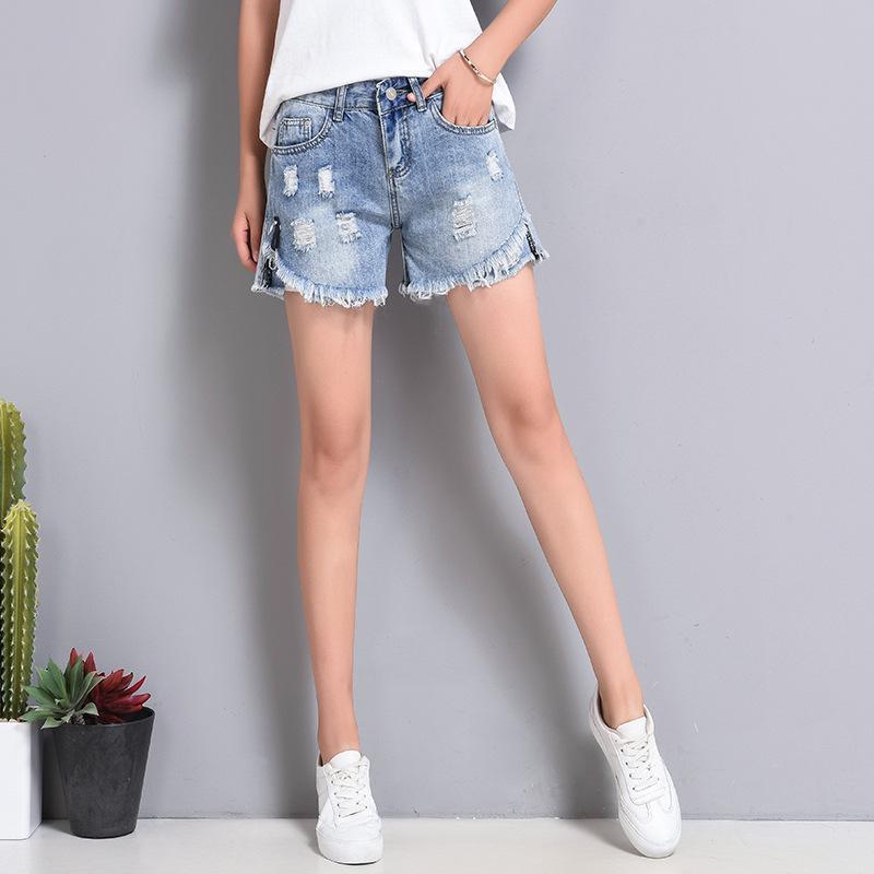 f72a2d3616d 2019 Mens Designer Denim Shorts Female Summer 2019 New High Waist Hole  Korean Version Of The Wild Student Loose Raw Edge Short Hot Pants From ...