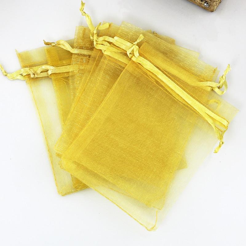500 шт. / Лот Золотой цвет Органзы Сумки 13x18 см Свадебный Подарок Мешок Ювелирных Изделий