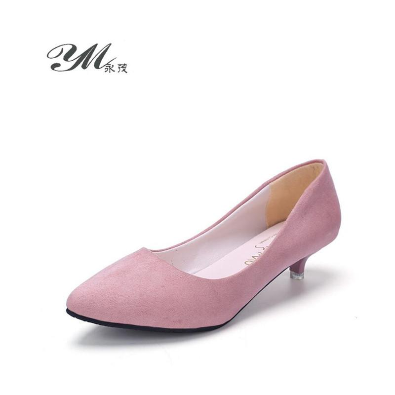 Designer Dress Shoes YM 2019 Spring and Autumn 3 CM new Fashion casual women woman Asakuchi high heels etiquette work zapatos mujer