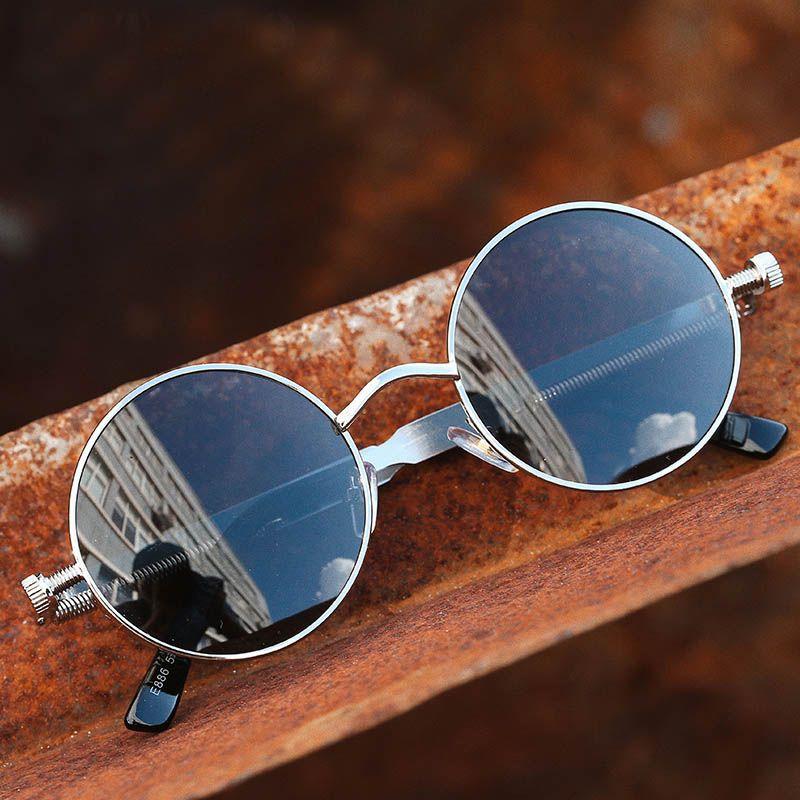 9d056df751f6 Gothic Vintage Round Sunglasses Women Man Fashion Circle Mirror 90s ...