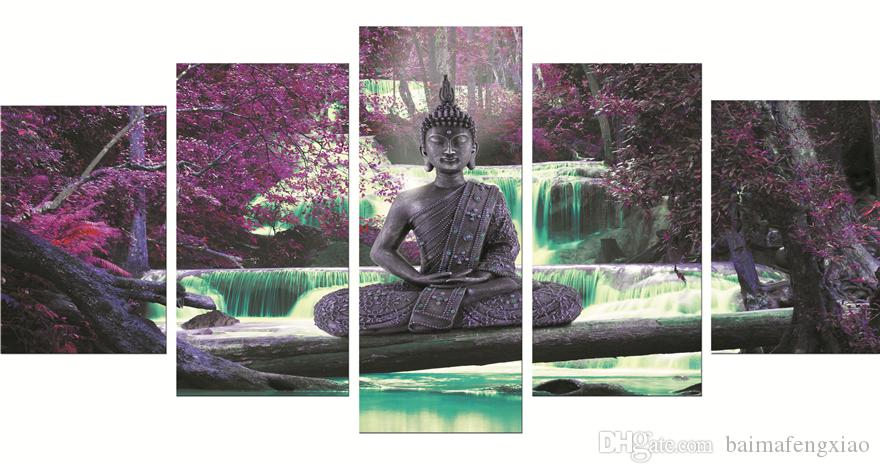 5 Pieces Posters and Prints Performing Buddha waterfall scenery modern Oil Painting Canvas Wall Pictures Living Room Home Decor 90-2