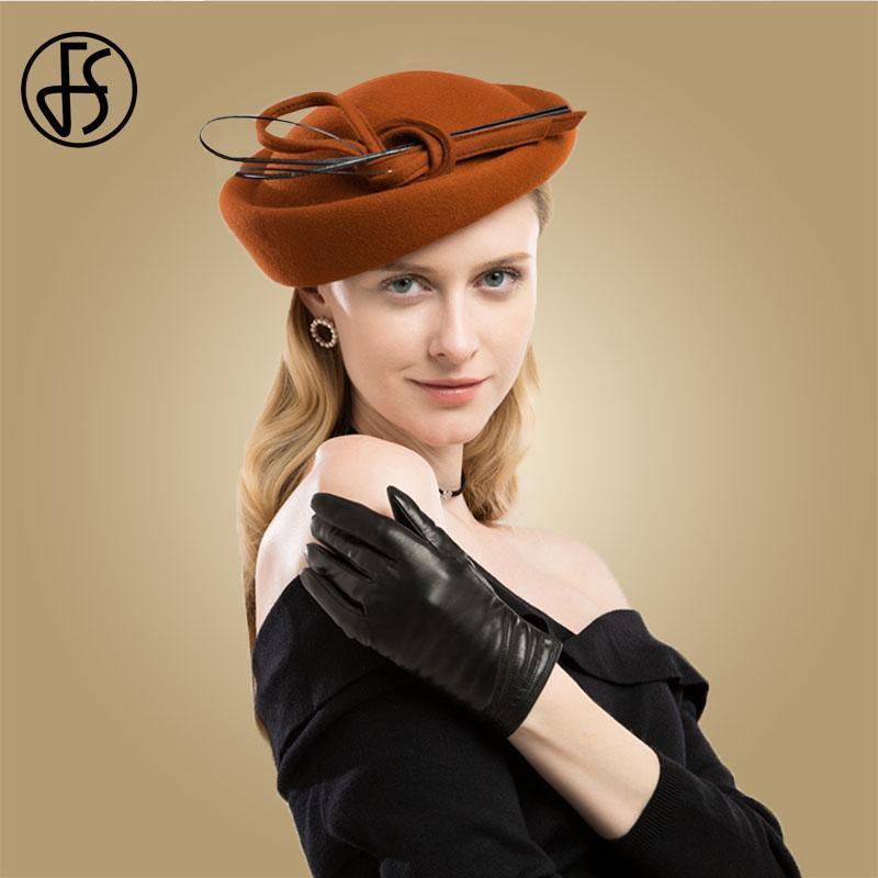 Acquista Cappello Di Lana Vintage Arancione Con Fiocco Copricapo Da Sposa  Fascinators Le Donne Elegante Abito Nero Cappelli Reali Chapeu Feminino A   52.99 ... 947eb46b2923