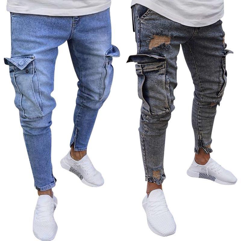 712bc028 Nuevos pantalones rotos para hombres Slim Biker Zipper Denim Jeans Skinny  Pocket Pantalones Pantalones azul más el tamaño 3XL 4XL Envío de la gota