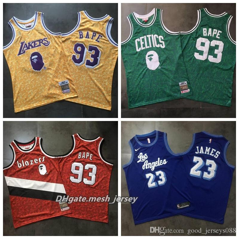 Hot Sale Los Angeles Basketball Lakers Celtics Jersey 93 X MITCHELL   NESS  James ALL Stitched Jersey And Dense AU Fabric Golden New Shorts New Jersey  New ... b25bf5118