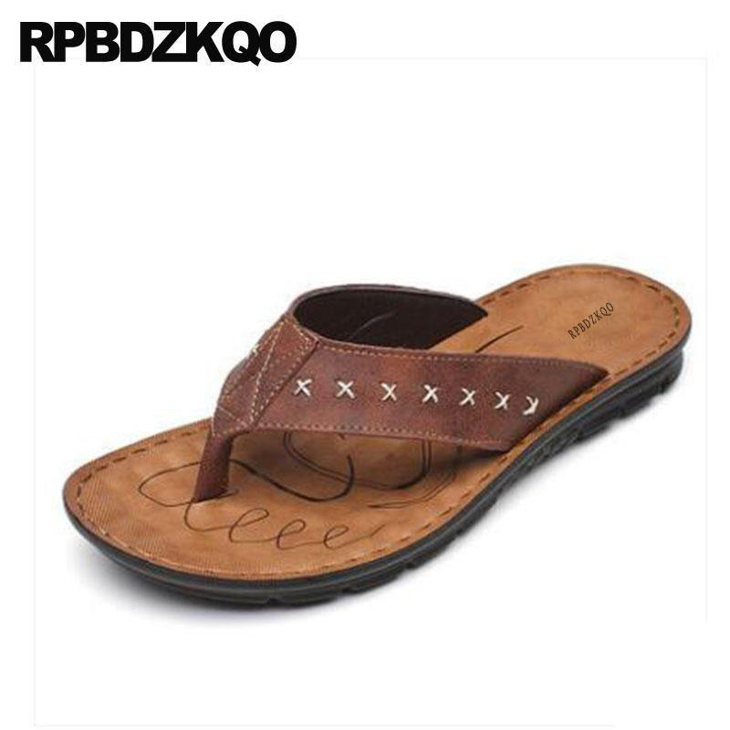 39d46c8a78a2 Slides Beach Flip Flop Shoes Black Strap Slippers Brown Men Sandals Leather  Summer Waterproof Runway Toe Loop 2018 Thong Water Wedge Boots Comfortable  Shoes ...