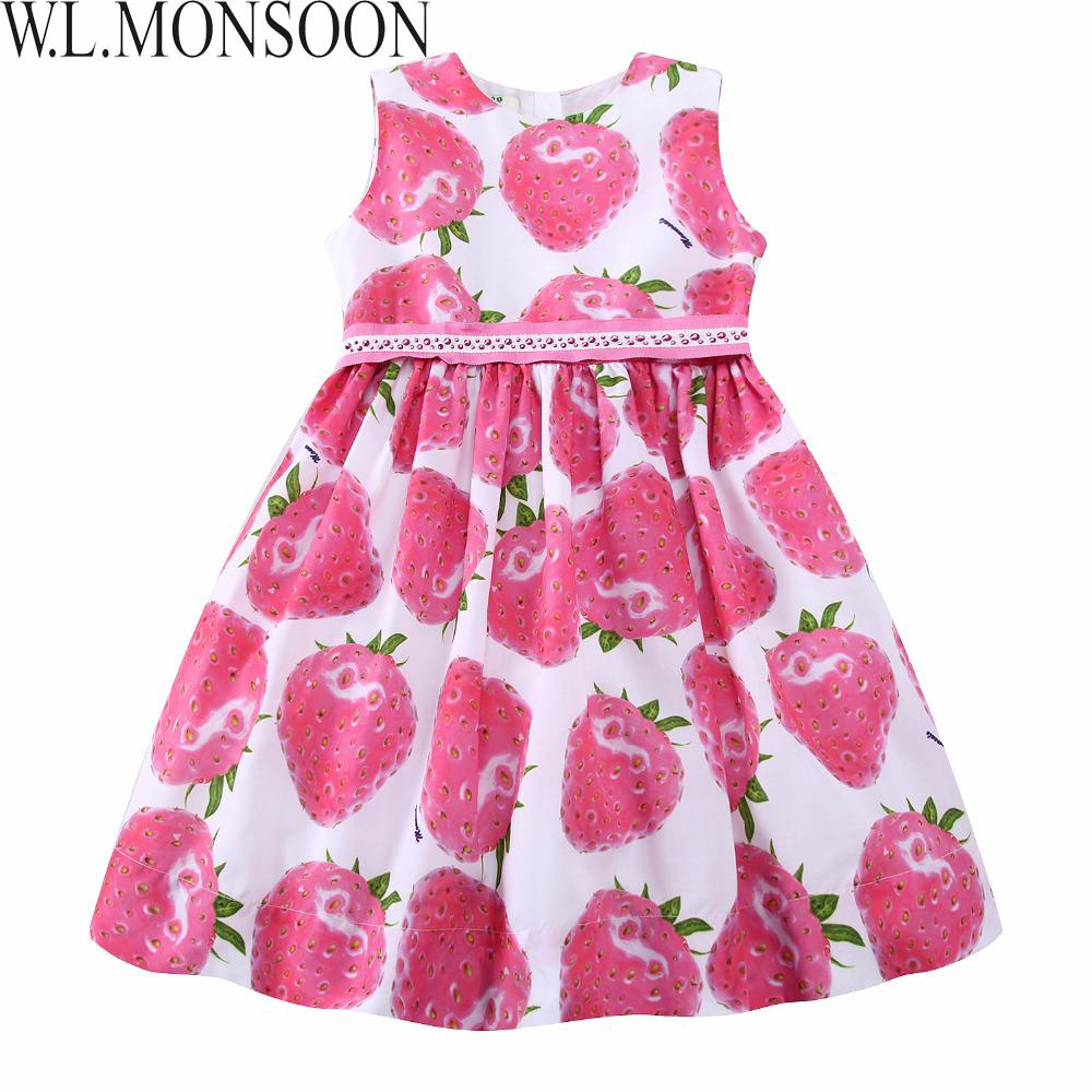 d4e9eeb66c236 W.L.MONSOON Girls Summer Dress with Beading Sashes 2019 Brand Robe Enfant  Kids Clothes Costumes Princess Pink Strawberry Dresses
