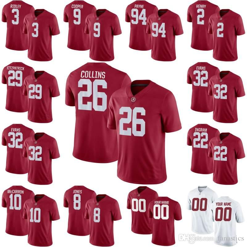 detailed look 433ed f23c3 NCAA Alabama Crimson Tide Landon Collins Derrick Henry Da'Ron Payne Julio  Jones Minkah Fitzpatrick Calvin Ridley College Football Jersey