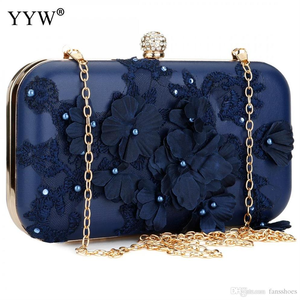 db07bde6534 2018 New Women Clutch Bag Flower Ladies Dark Blue Evening Bags Ladies Day Clutches  Purse Female Pink Wedding Bag With Rhinestone #112446 Gold Clutch Leather  ...