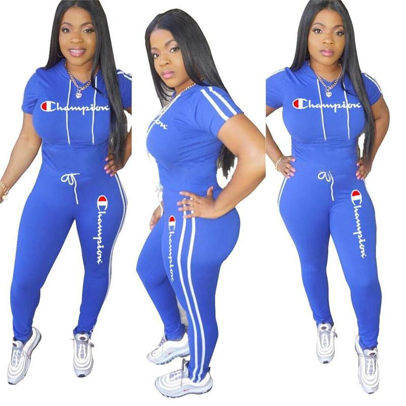 920f6ee4a235 Champions Women Summer Tracksuit Hooded T Shirt + String Pants Leggings 2  Piece Outfits Letter Print Sportswear Sports Suit Jogger Set A3195