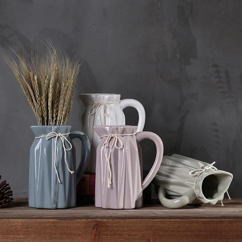 Home Decor Nordic Fashion Ceramic Milk Jug Vase Retro Rope Ceramic