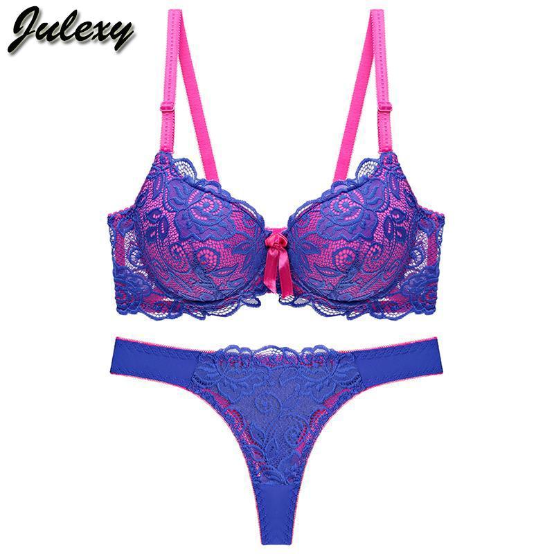 d29f5e69d97a0 Julexy Nouvelle 2019 Sexy Dentelle Femmes Thong Évider Sous-Vêtements  Culotte Intimante Soutien-gorge Mémoire Lingerie Ensemble C19042201