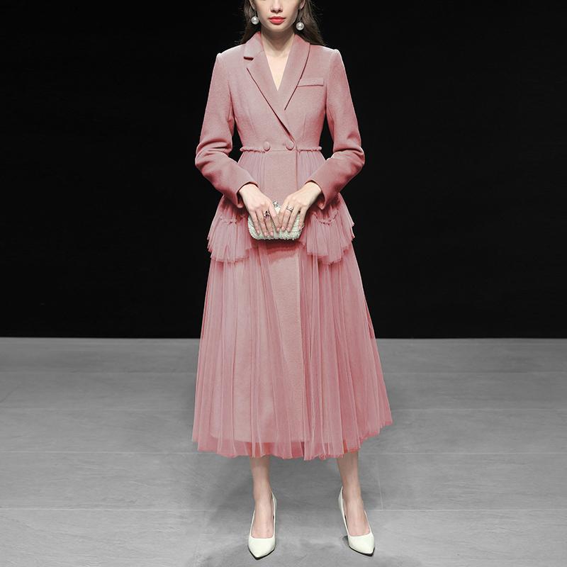 02604f30a7d1e6 DEAT 20109 Nouveau Printemps Mode Femmes Vêtements Col Rabattu Manches  Longues Maille Patchwork Asymétrique Veste Styles Robe Haute