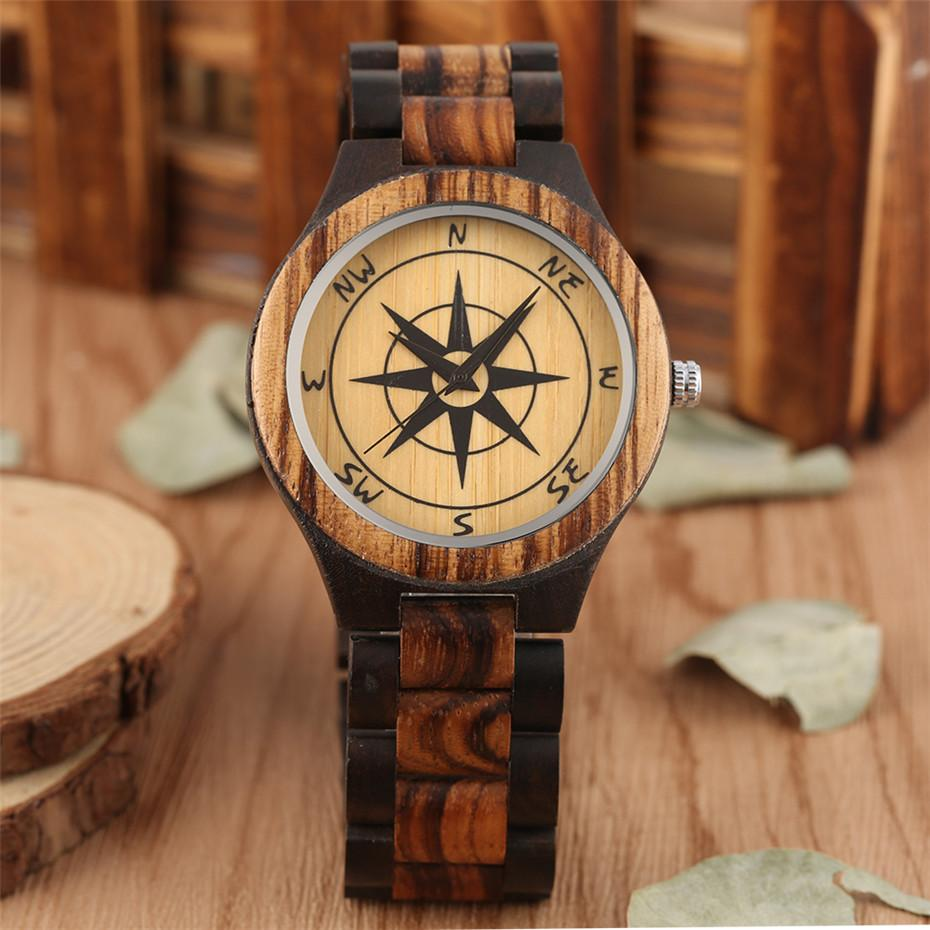 Hot Fashion Compass Display Wooden Watch Quartz Timepiece Casual Mens Watches Wood Bangle Wristwatches reloj masculino