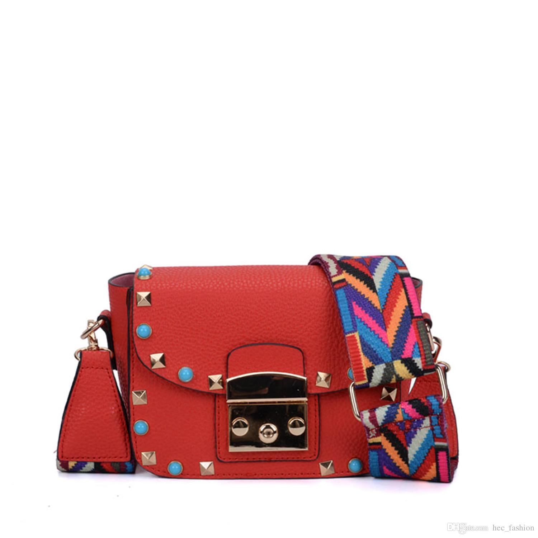 6158309e120f Fashion Mini Lady Crossbody Bag Flap Wide Colorful Shoulder Strap PigBag  Adjustable Handle Rivet Candy Small Shoulder Bag Handbag VK5166-5-8