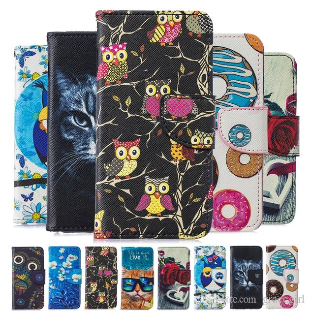 Cartoon Cat Owl Wallet Leather Case For Samsung Galaxy J3 J330 J530 J4 J6  A5 2017 A8 2018 S6 S7 Edge S8 S9 Plus Cake Rose Flower Cover 50pcs