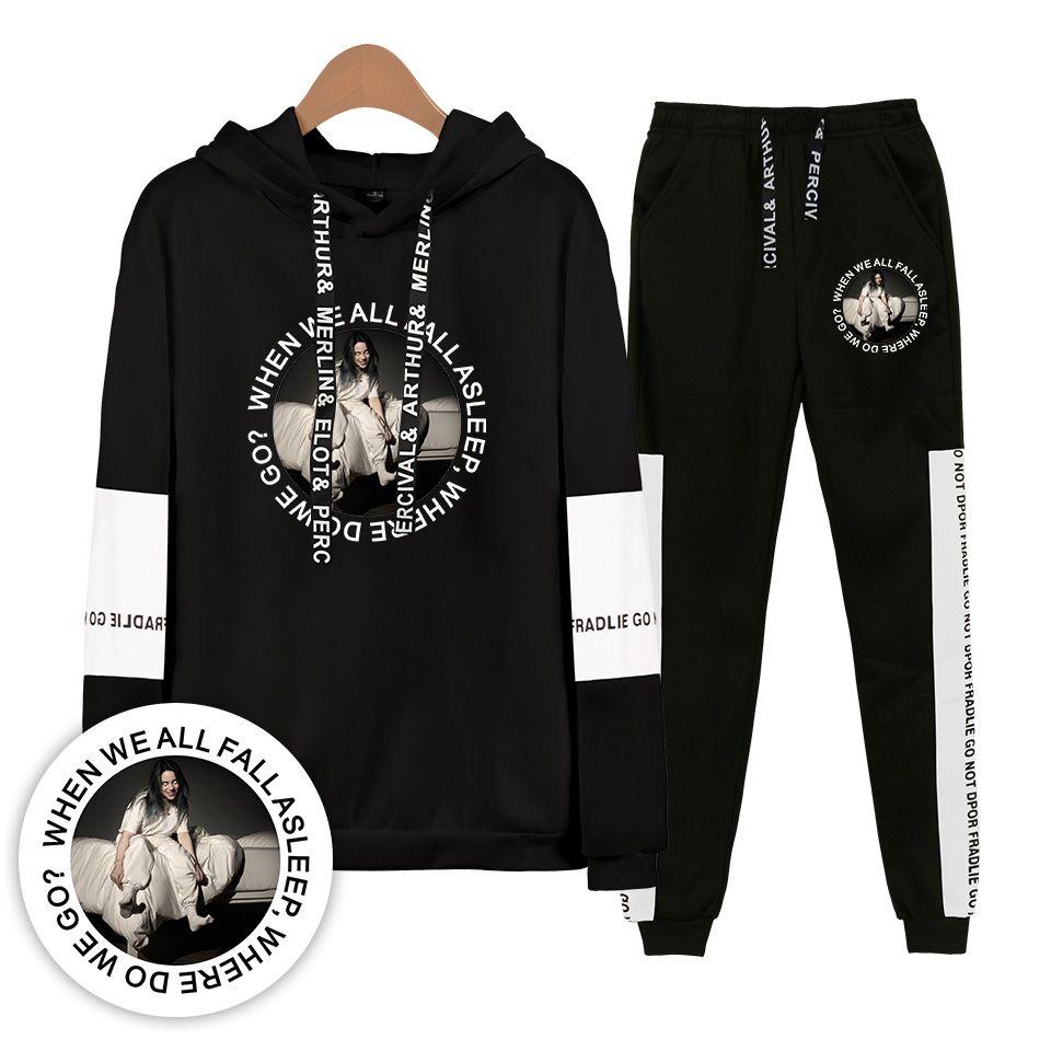 8c089867f 2019 Fashion Print Billie Eilish Hoodies Sweatshirts Women/Men Sweatshirt+Sweatpants  2 Piece Set Sports Women's Leisure Clothing