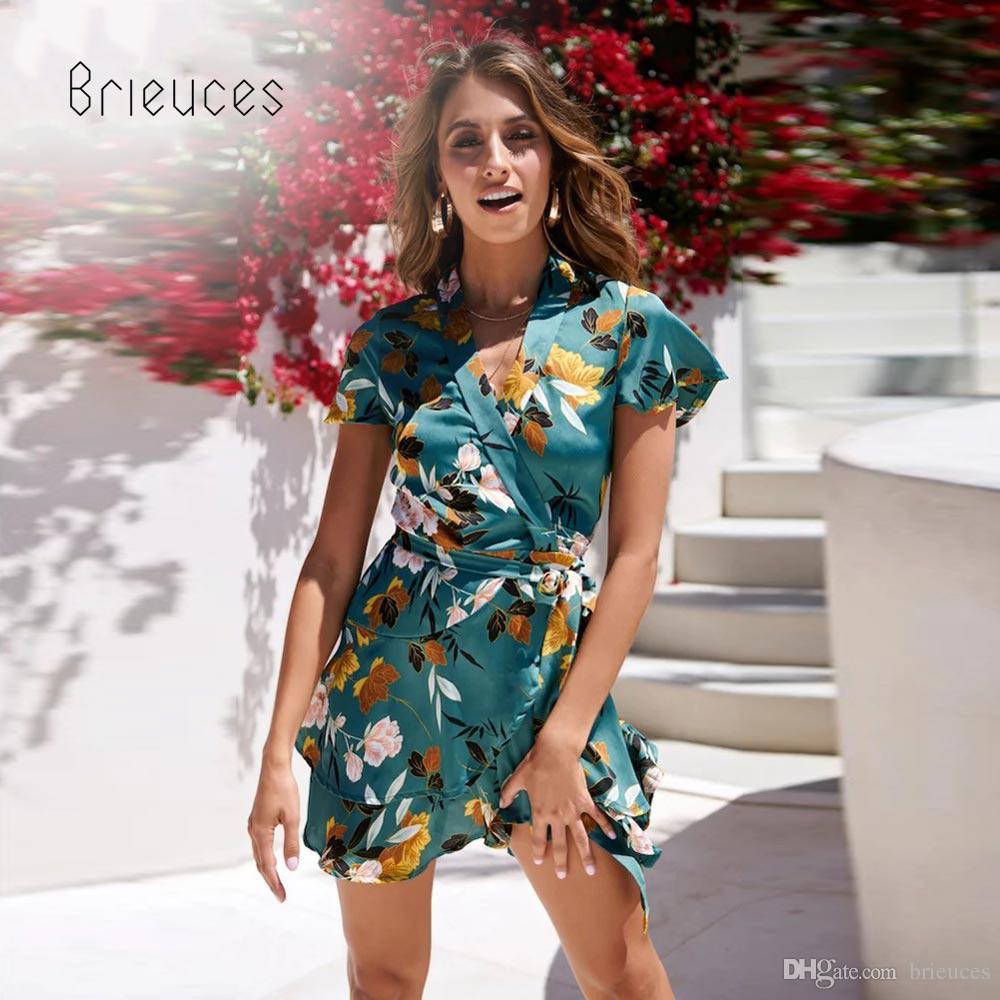99521c5be7 Brieuces Short Sleeve Summer Dress Women Tropical Beach Vintage Mini Dresses  Bohemian Casual V Neck Ruffles Sundress Vestidos Mother Of The Bride Dress  ...