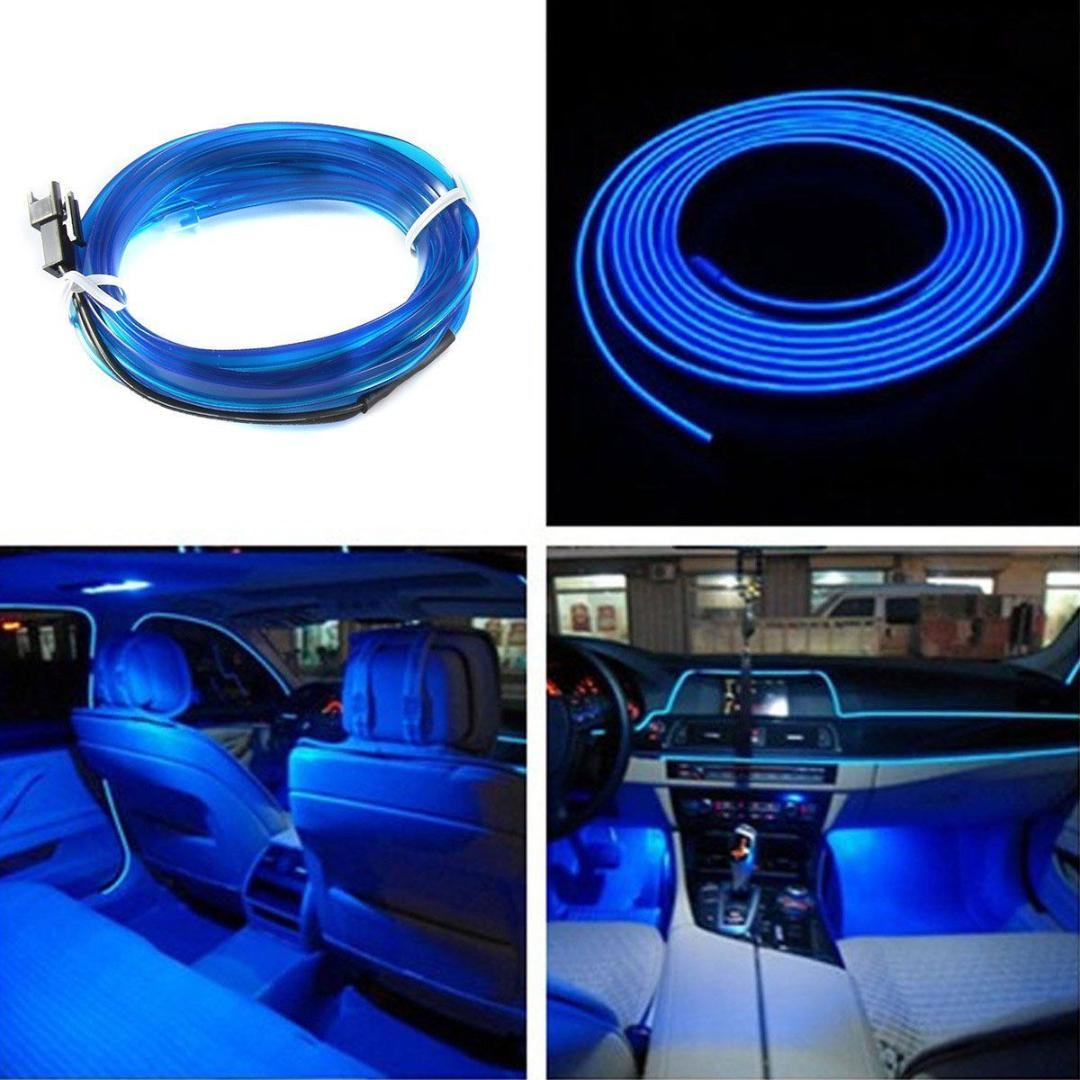 300CM Car LED EL Wire Cold Light Glow Interior Flexible Atmosphere Decor Lamp Car styling Ambient light clip clip 12V line