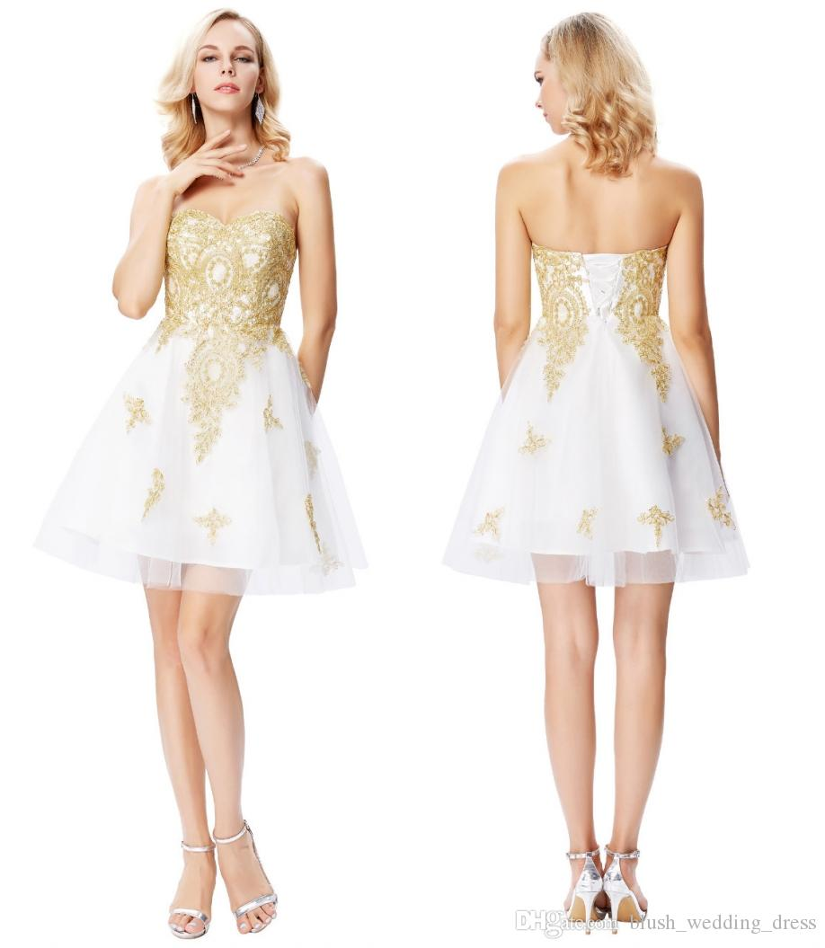 ae2e2b8b757 Grace Karin Short White Cocktail Dresses Sweetheart Gold Appliques Formal Prom  Dresses A Line Bandage Tulle Homecoming Dresses DH374 Short Lace Homecoming  ...