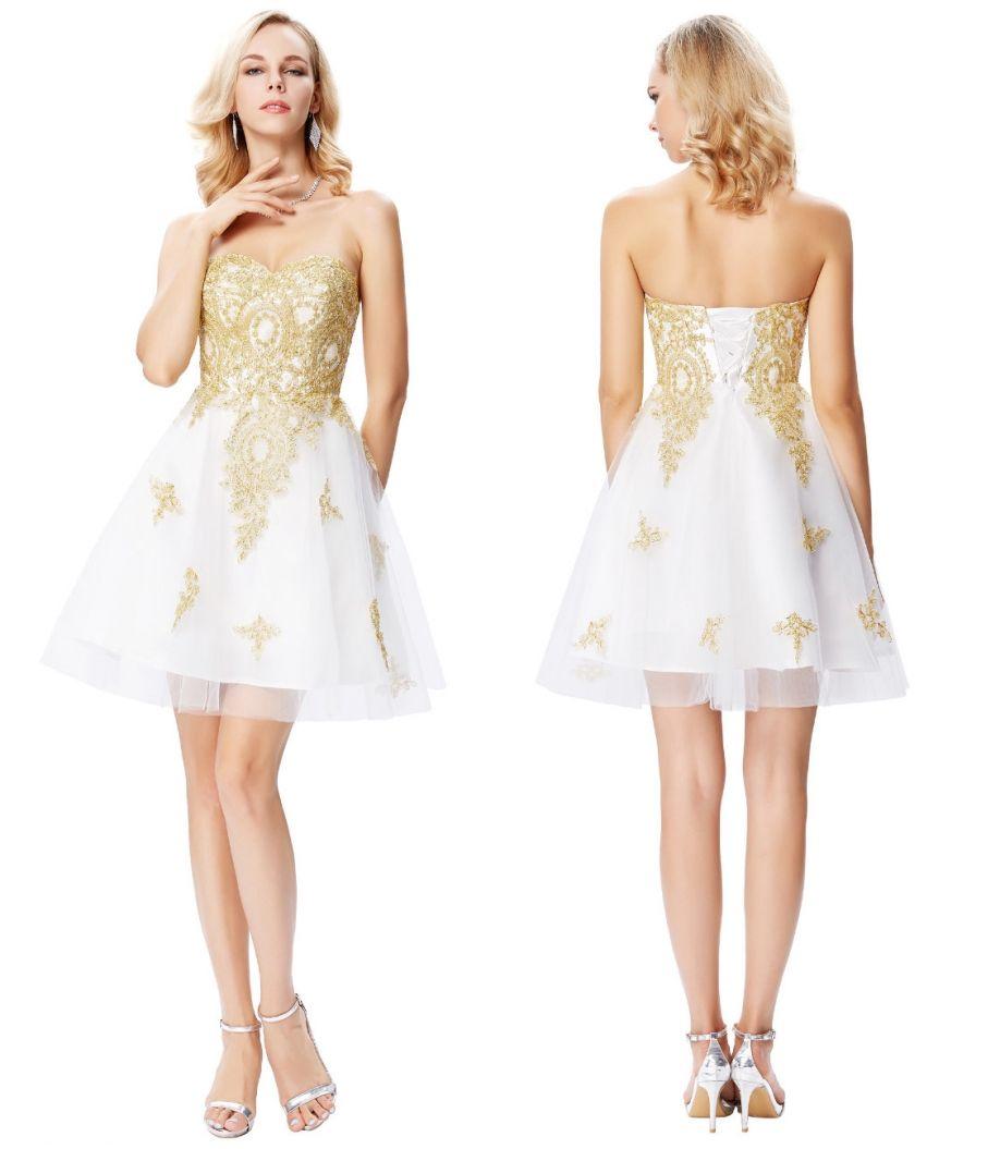 45f3d697d Compre Grace Karin Vestidos De Coctel Cortos Blancos Novia De Oro Apliques Formales  Vestidos De Baile Vestidos De Línea De Tul Vestidos De Fiesta DH374 A ...