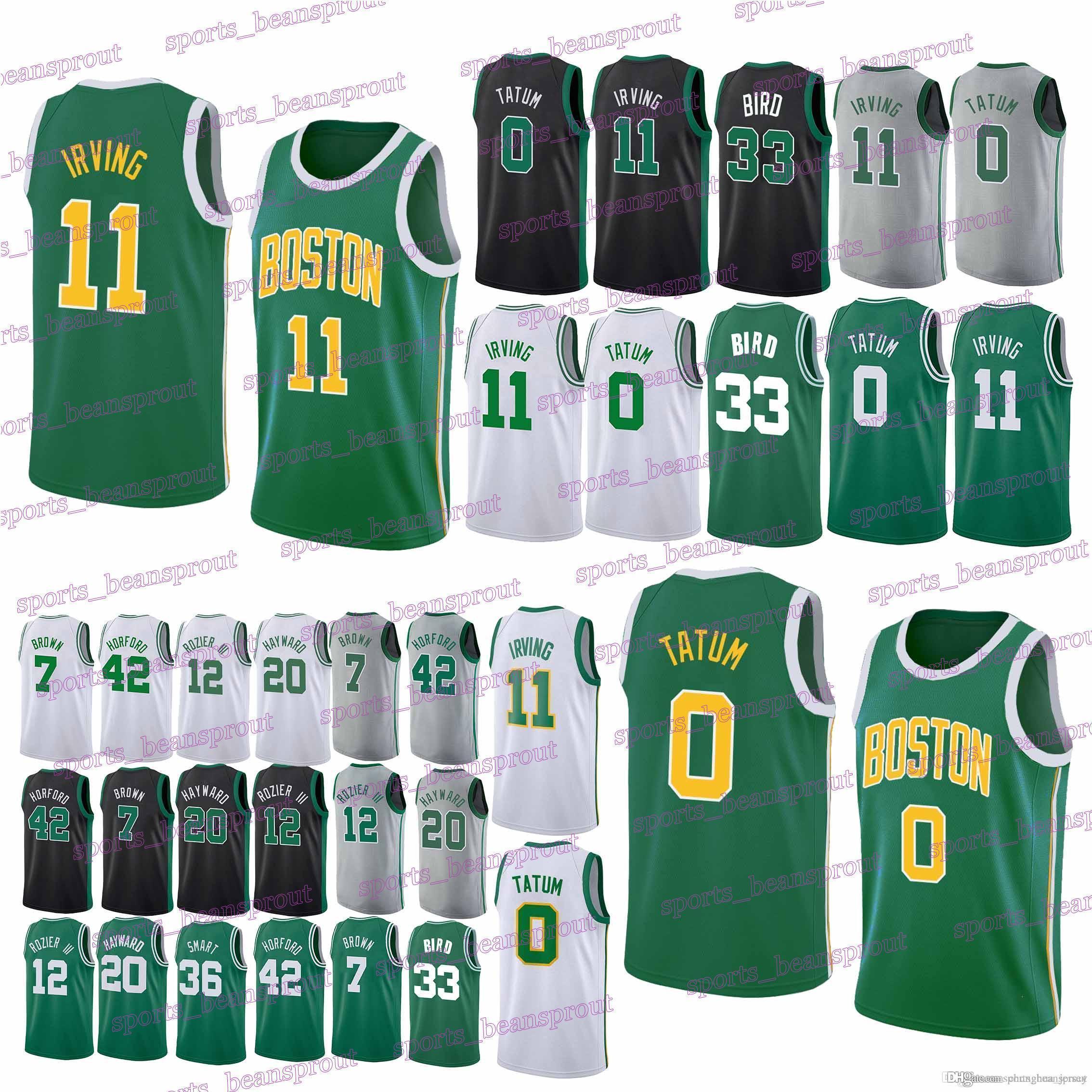 huge discount f1e8b 1c39c 2019 men Celtics jerseys 0 Jayson Tatum Boston 11 Kyrie Irving 33 Larry  Bird 42 Al Horford 20 Gordon Hayward jersey