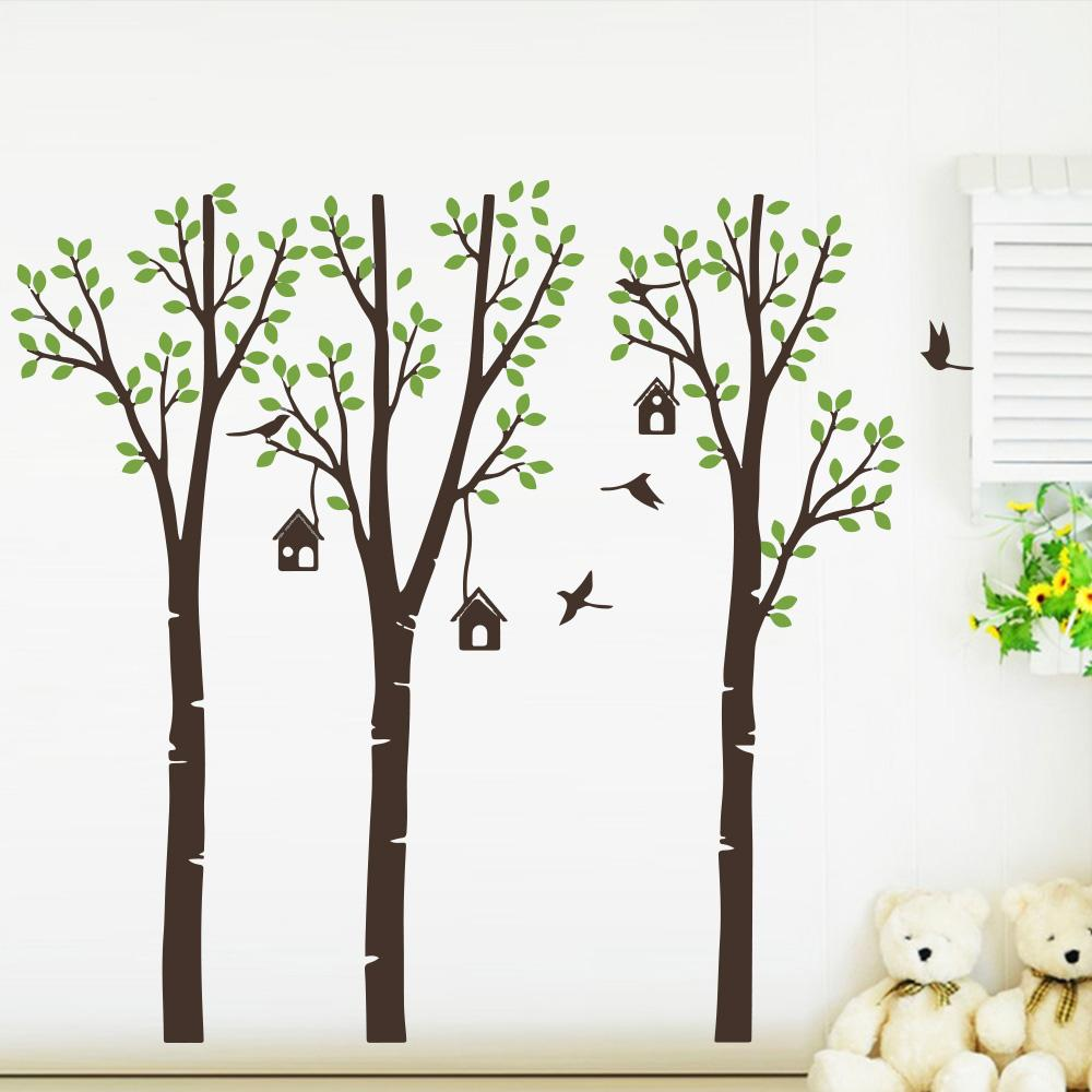 Artistic Trees Bird Woods Vinyl Wall Sticker For Kids Room
