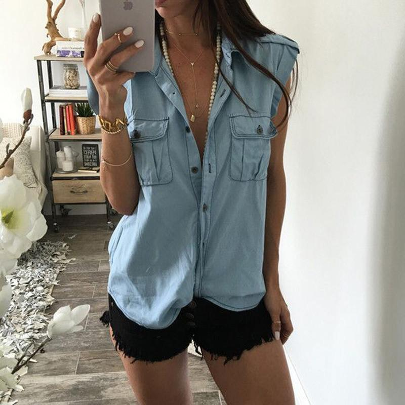 9120c4b4186 2019 2018 Summer Women Fashion Vintage Buttons Pockets Blouses Sexy  Sleeveless Jeans Denim Blue Shirts Femme Casual Blusas Tops From Wanglon05