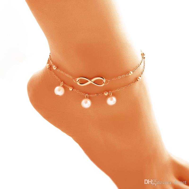 Fashion jewelry Anklets Simulated Pearl Infinite Charm Beads Ankle Bracelets For Women Leg Chain Barefoot Sandals Foot Jewelry Accessorie