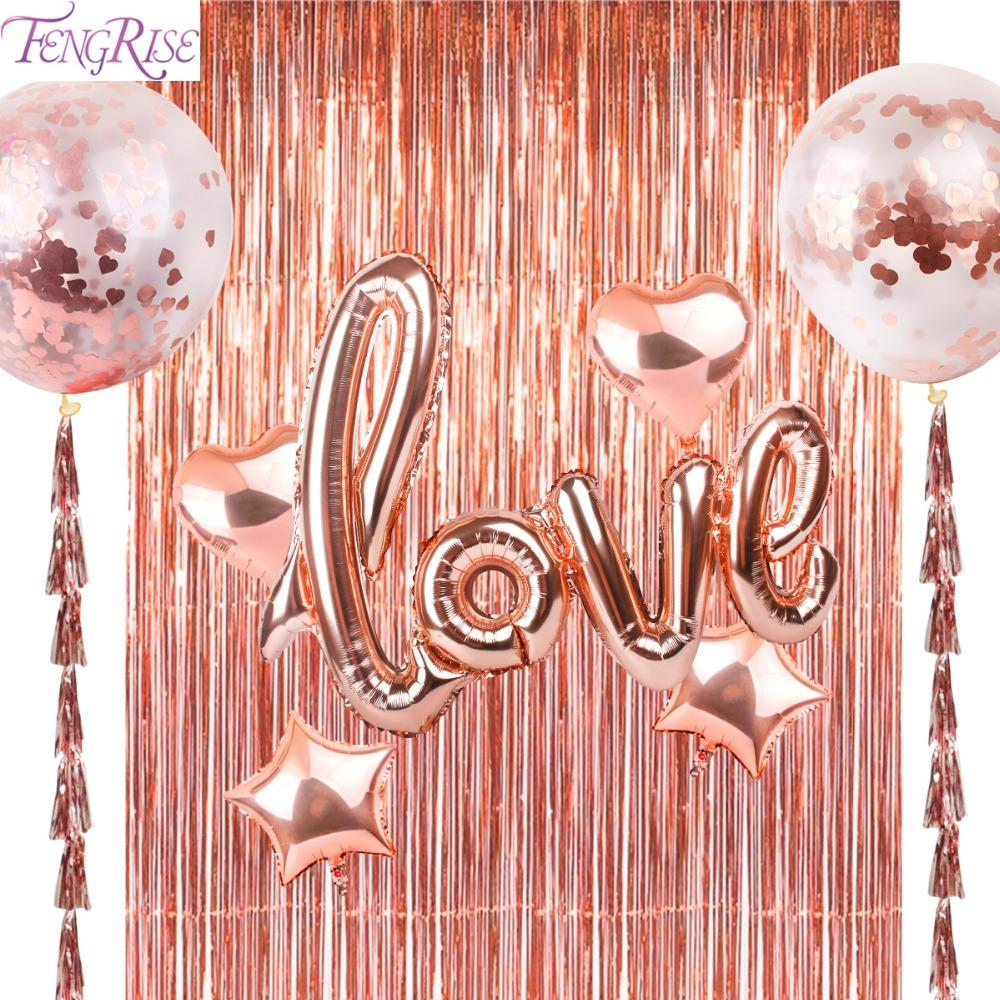 FENGRISE 92*245cm Rose Gold Party Decoration Shimmering Foil Fringe Tinsel Door Curtain Wedding Birthday Photo Backdrop Supplies