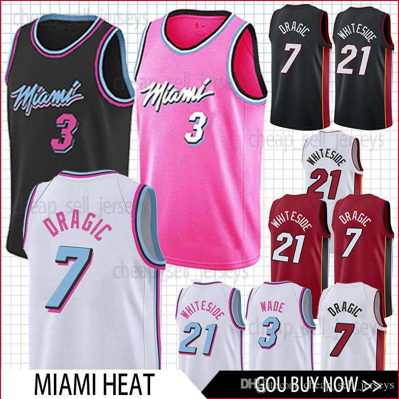 buy popular 6efb3 c6d1c men Heat jersey 7 Dragic 3 Wade 21 Whiteside basketball Jersey men fans  clothes printed top sale