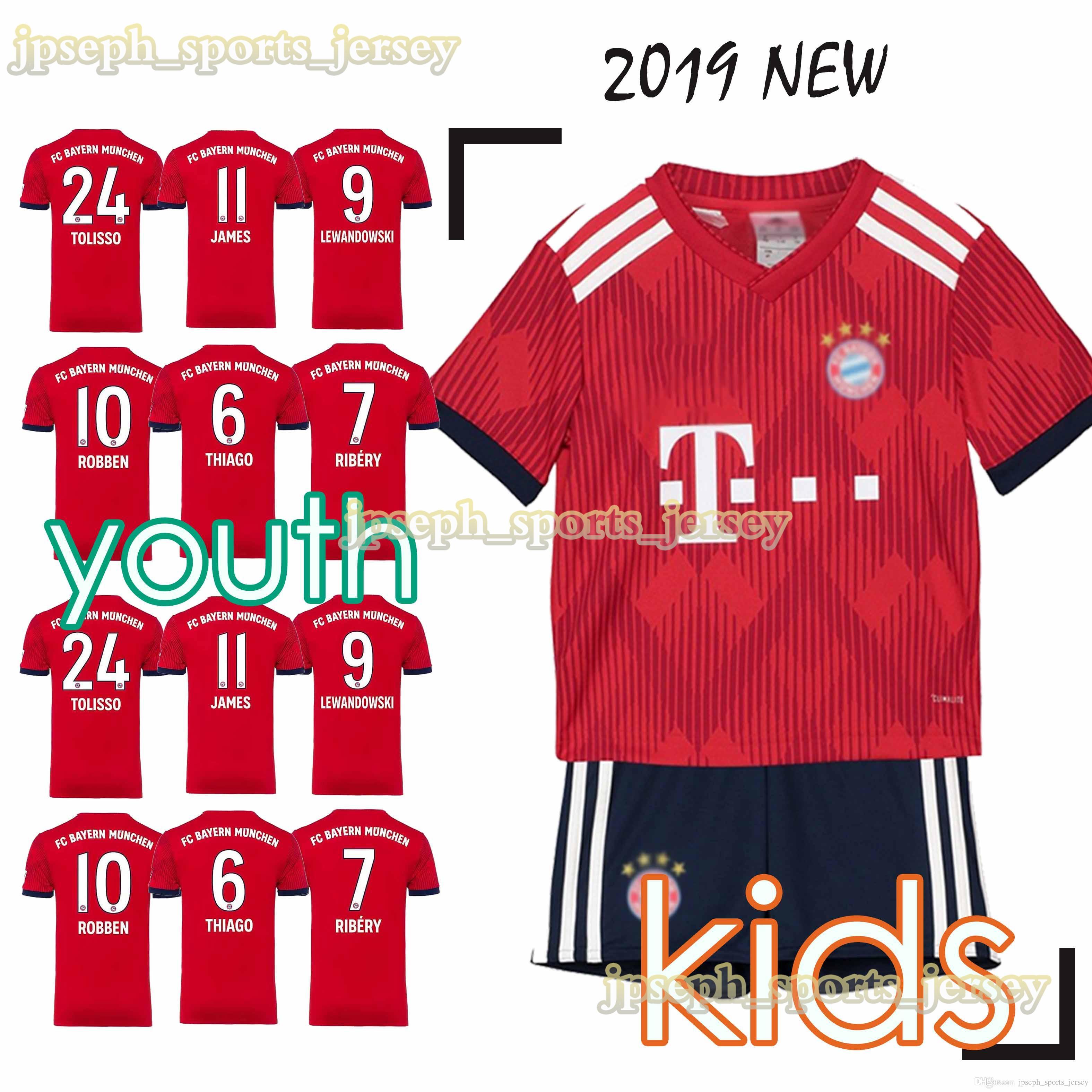 buy popular 7e0eb 79d40 Bayern soccer Jersey Kids Kit 2019 FC Bayern Munich home red Soccer Jerseys  #25 MULLER #11 JAMES Child Soccer Shirts uniform jersey YOUTH