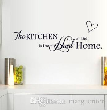 Kitchen Wall Decal The Kitchen Is Heart Of The Home Letter Pattern Wall Stickers Pvc Removable Home Decor Diy Wall Art Murals