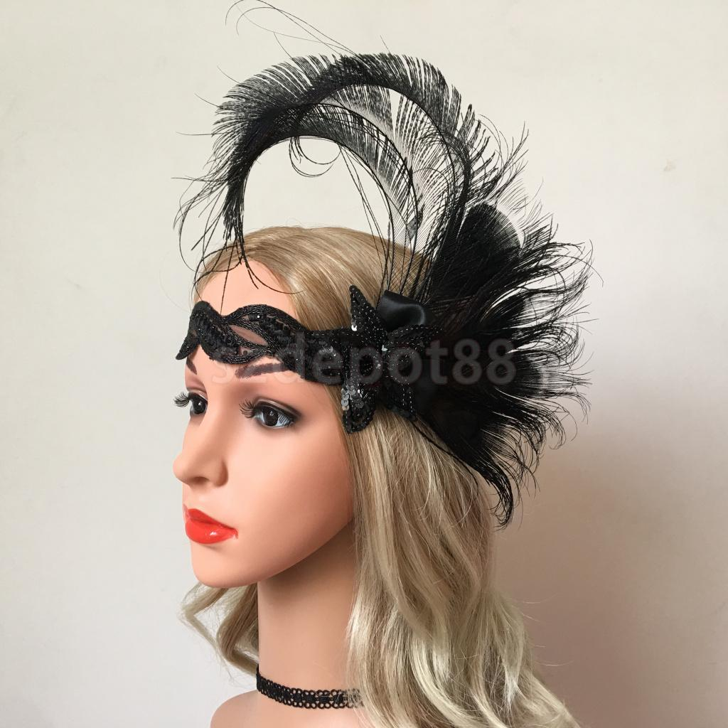 2019 1920s Flapper Headband Roaring 20s Headpiece Gatsby Peacock Black  Feather Headwear For Wedding Party Cosplay From Guichenring e8de79715a0