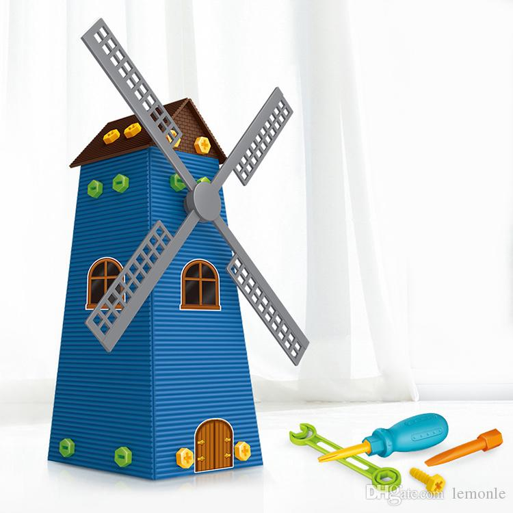 DIY Windmill Castle Building Blocks Educational Toy For Children 3D Kids Toy Gifts