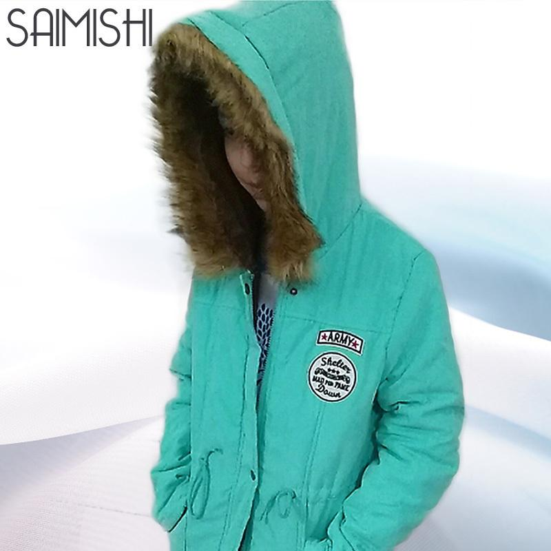 Saimishi Autumn Winter Jacket Women Parka Warm Jackets Fur Collar Coats Long Parkas Hoodies Office Lady Cotton Plus Size T5190612