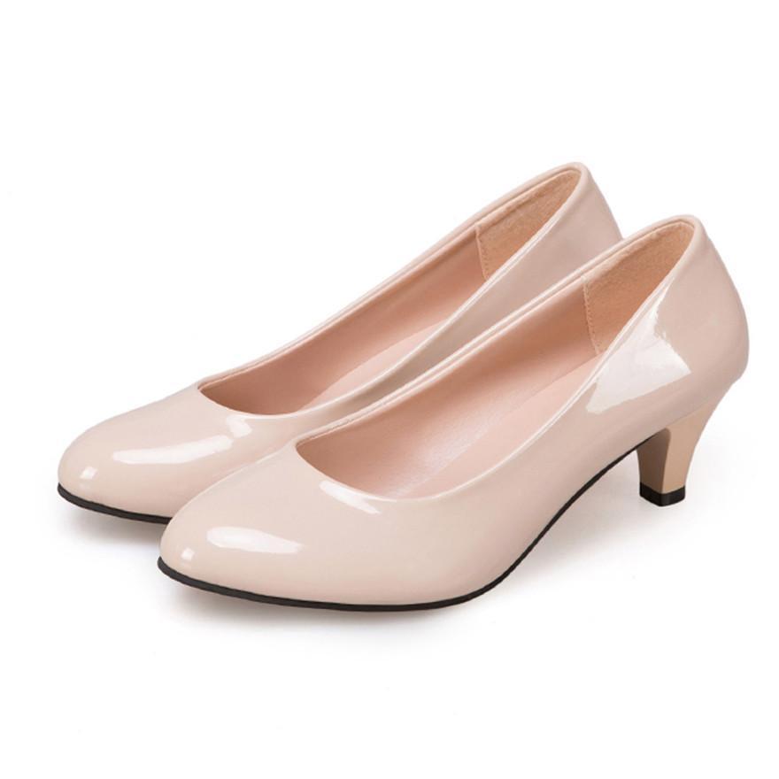 31fe233b93f9 Designer Dress Shoes Nude Shallow Mouth Women Office Work Heels Elegant  Ladies Low Heel Pumps Women Chaussure Femme Talon Scarpe Donna D Brown Dress  Shoes ...