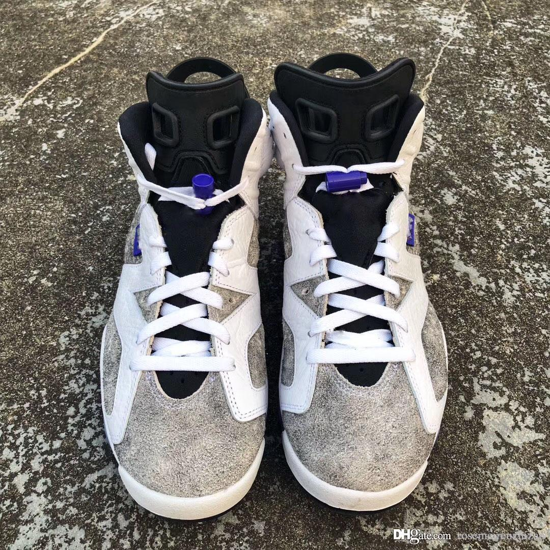 3fe30b3924e6 2019 Newset Authentic 6 Flint Grey Basketball Shoes White Black Infrared 23  Dark Concord Suede Men 6S Sneakers CI3125 100 With Box Size 40 47 From ...