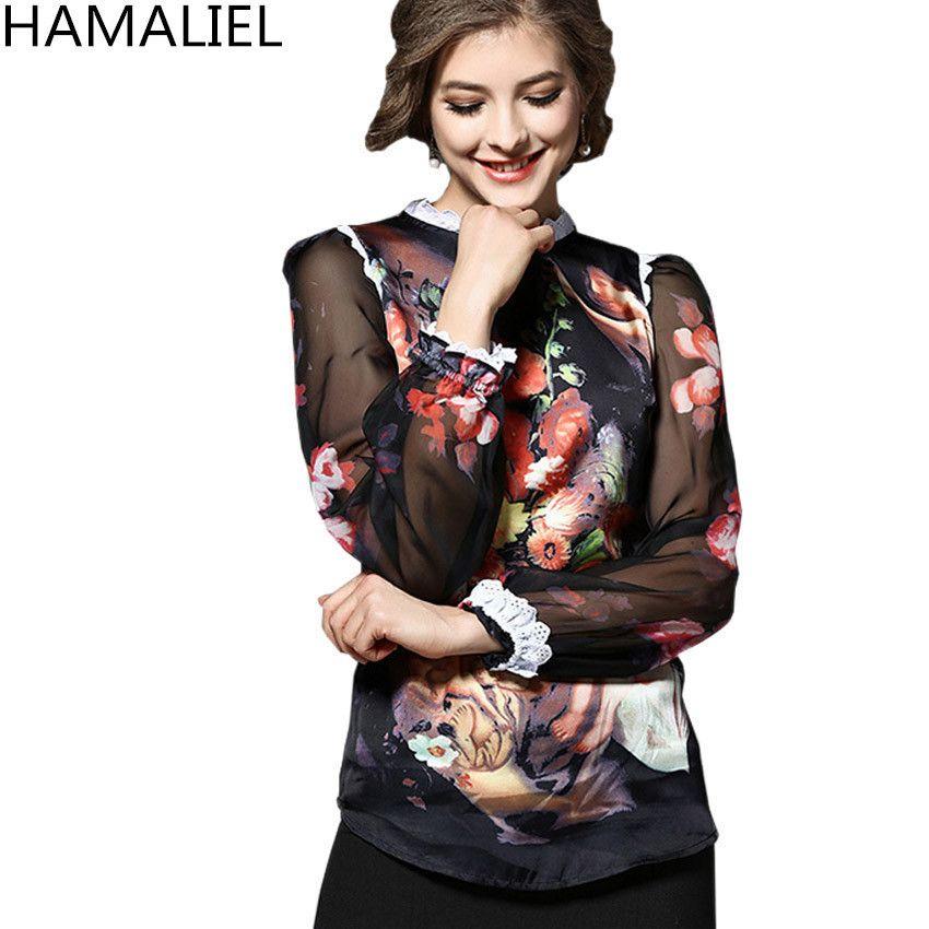c5e67a7e59ca1 S-XL Women 2018 Summer Runway Blusas Feminina Angel Fashion Blouse Shirt  Long Sleeve Silk Printing Painting Sexy Plus Size Top C19011501