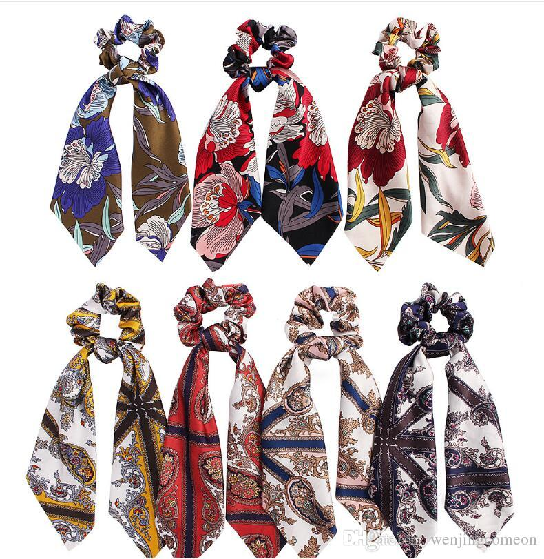 Bohemia Floral Print Hair Scarf Elastic Hair Bands For Women Vintage Hairband Bow Hair Rubber Ropes Scrunchie Girls Hairs Ties