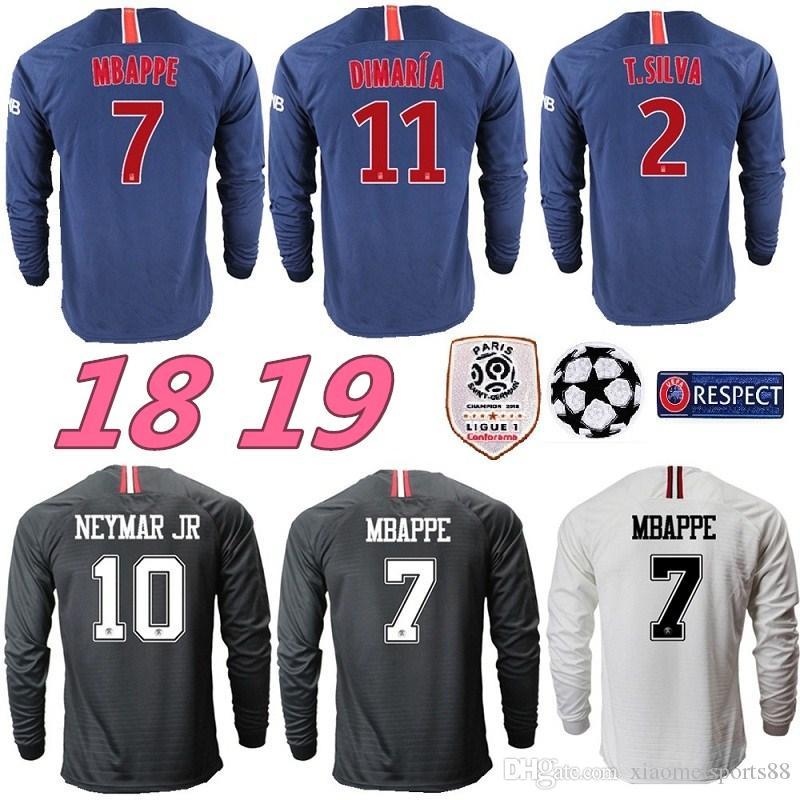 Nuevo 18 19 PSG Mbappé NEYMAR JR Liga De Campeones Negros Juego Camiseta De  Fútbol De Manga Larga Negro 2019 PARIS Di MARIA CAVANI Camiseta De Fútbol  Por ... 1a8ea1ae77031