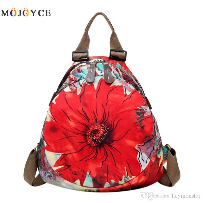 Chinese Shoulder Bag Zipper Women Teenage Casual Oxford Escolar Backpack Student Style Flower Print Mochila Cloth gbYf76y