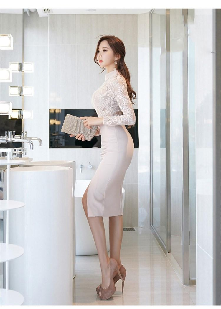 70f7fa2560d 2019 Office Lady High Neck Split Patchwork Dresses Women Long Sleeve White  Lace Dress Turtleneck Fashion Empire Sheath Dress Dress Of Woman White  Summer ...