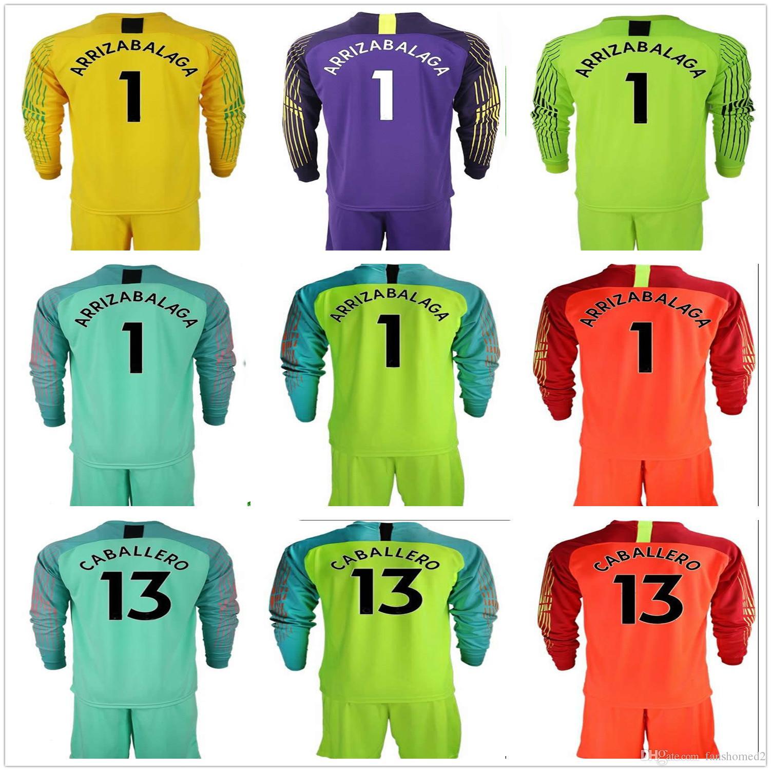 1045962d9 2019 2018 19 Adults The Blues #1 Kepa Arrizabalaga 13 Caballero Goalkeeper  Soccer Sets Goalkeeper Jersey Football Kit Goalie Football Uniforms From ...