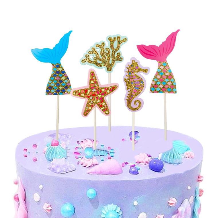 Lincaier Happy Birthday Paper Cake Topper Mermaid Party Decorations Princess Baby Girl Children Kids Supplies Seashell Starfish