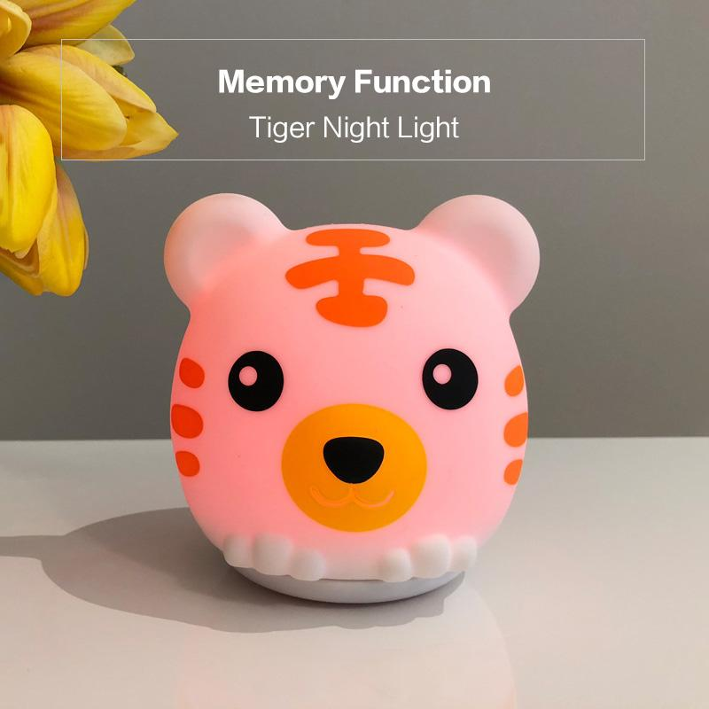 BRELONG colorful tiger silicone night light bedroom creative bedside charging pat light Warm White 1 pc