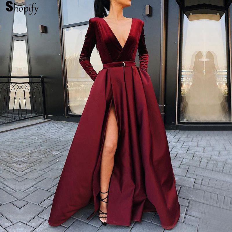 307049e89da Acheter Robes De Bal Longues 2019 Robe De Bal Sexy En Velours Bordeaux À  Manches Longues Et Fendue Sur Fille Africaine De  177.41 Du Guojiangwedding  ...