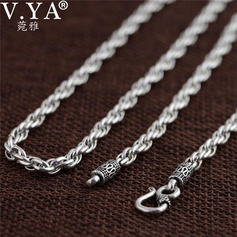 V.ya Vintage 925 Sterling Silver Chain Necklaces For Men Male Jewelry 4mm Real Thai Silver Necklace Fine Jewelry Accessories J190530