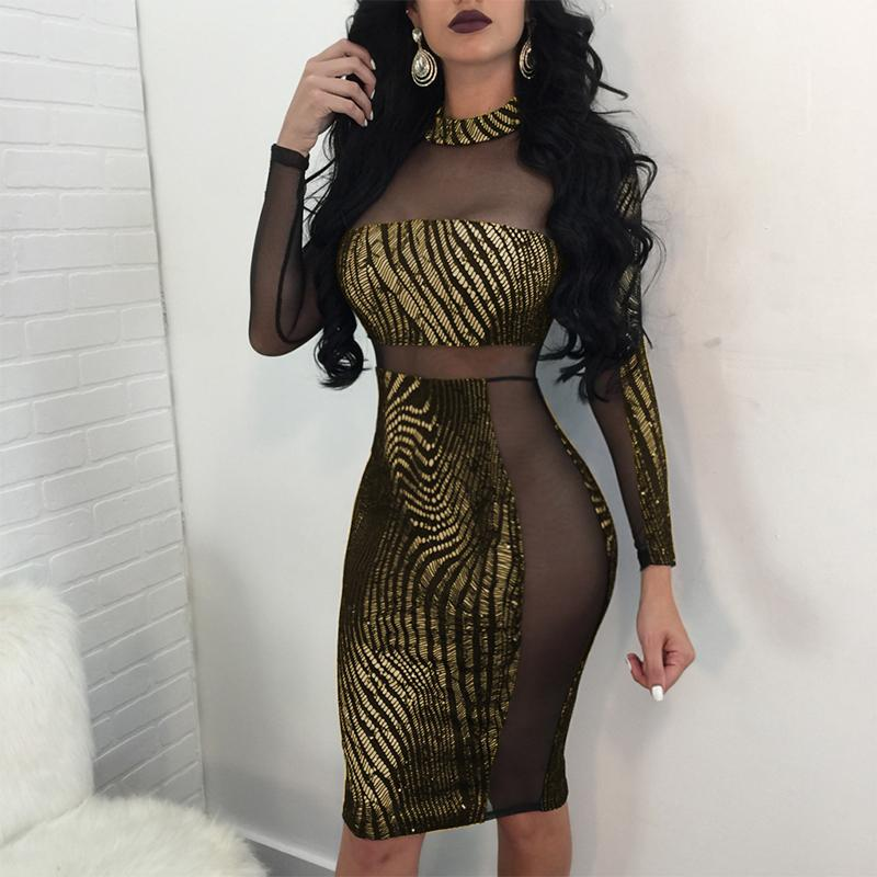 627f532a17 Sexy Women Metallic Sequin Dress Sheer Mesh Splice Long Sleeve Midi Pencil  Dress Turtleneck Bodycon Party Club Dresses Gold Robe Black Prom Dresses ...